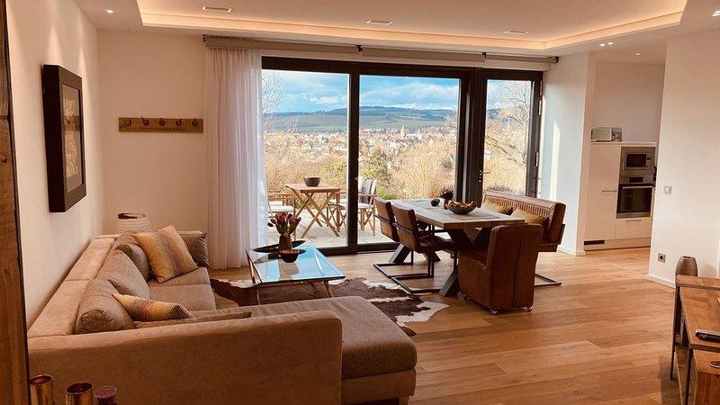 Architektenhaus Luxus-Apartment in Top Lage - atemberaubender Blick und Terrasse, location de vacances à Odernheim am Glan