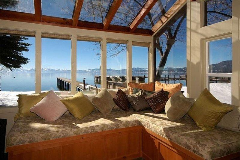 Sunroom with views of Lake Tahoe
