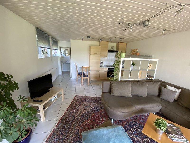 Ferienwohnung 57 qm, Wohnzimmer mit integrierter Küche, Badezimmer mit Dusche un, holiday rental in Alpirsbach