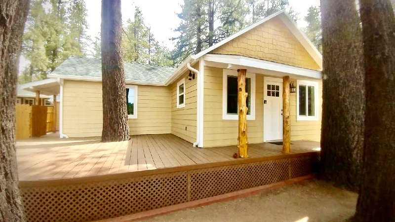 FM #2- remodeled vintage cabin lake view, deck, fireplace, private backyard, vacation rental in Lucerne Valley