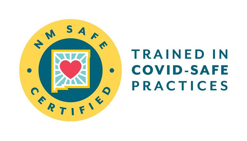 We are now NM Safe Certified and trained in COVID-Safe Practices to offer our guests the highest level of service, provide the most comfortable stay, and keep you and our staff safe.