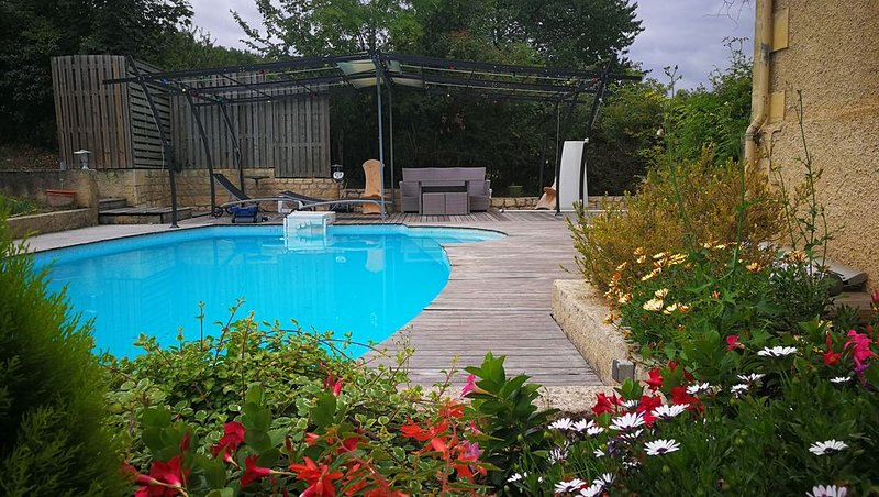 Maison en pierre, Piscine, jardin, terrasse et tonnelle. terra, vacation rental in Pomport