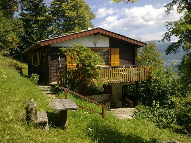 Kleine Hütte mit großem Panorama  und viel Platz für Familien, alquiler vacacional en Kliening