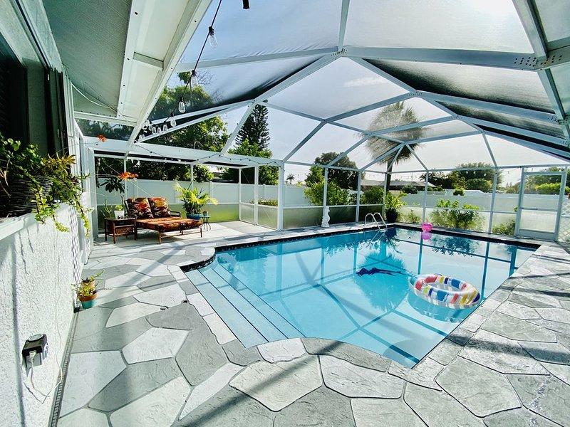 Custom pool, deck and lanai.
