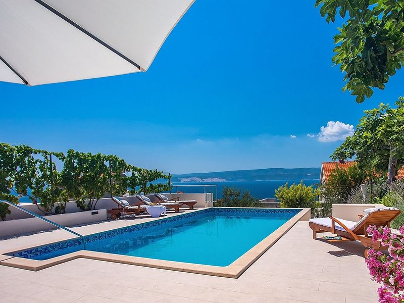 Private 30msq heated pool, 8 lounge chairs in natural shadow, 90m from the sea