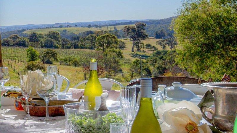 The Farmhouse - grape vines and rolling green hills, vacation rental in Joadja Creek