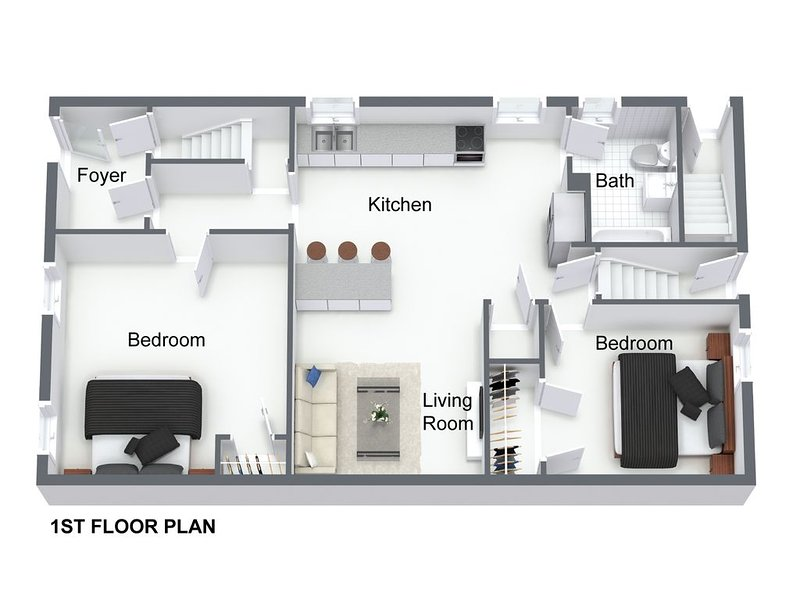 Floor Plan of 1st Floor Apartment (sizes are not exact but are rough approximations)