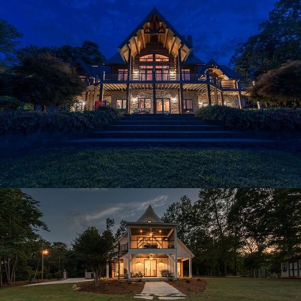 Nighttime at Azalea Retreat- the Lodge and the Cottage!