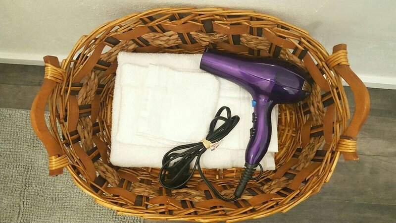 Extra towels and Hair dryer provided