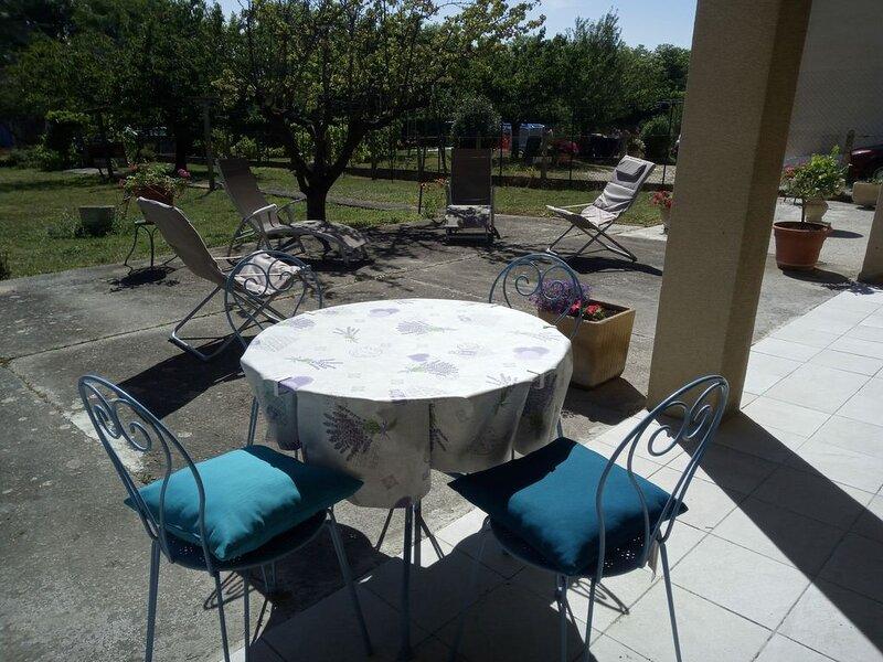 appartement 100 m2 plein pieds grande terrasse vue sur jardin arboré, holiday rental in Montmaur