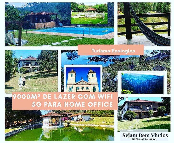 Chacara a 70min de SP pesca WIFI piscina 9000m² lareira homeoffice lazer, location de vacances à Atibaia
