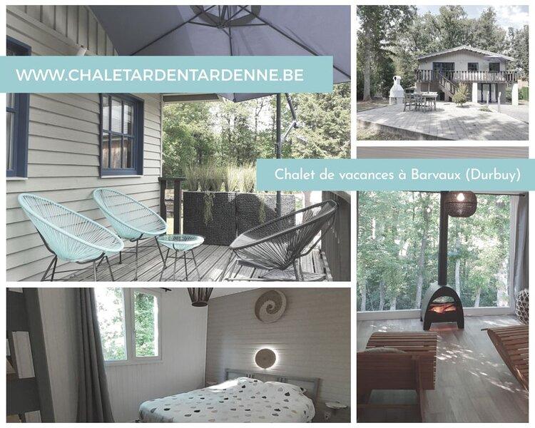 Chalet moderne 4/5 pers. avec vue exceptionnelle sur la forêt, aluguéis de temporada em Durbuy