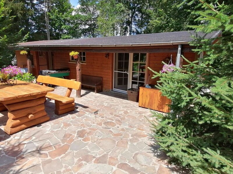 Beautiful authentic chalet with spacious garden, covered barbecue and private fi, holiday rental in Bertogne