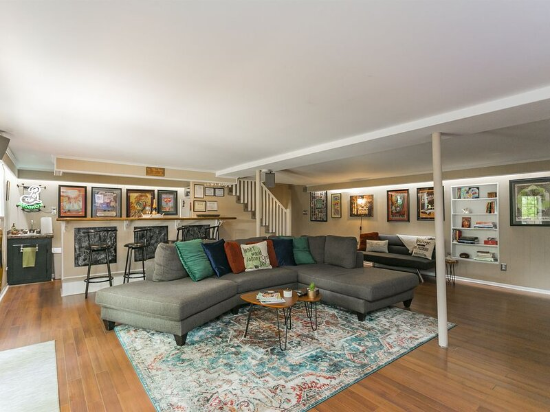 Huge Lower Level Lounge with Full Bar, 2 Fridges, SmartTV & Premium Sound System Opens Directly to the Back Patio with Covered Gazebo, Fire-pit, Custom Built-in Grill & Outdoor Speakers! Permit: ***********