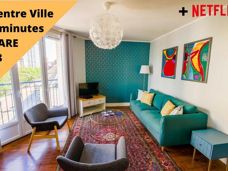 Appartement Gare (5 minutes) 4-6 personnes, location de vacances à Joué lès Tours