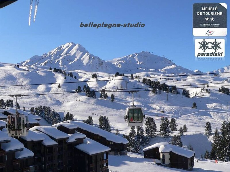 BELLE PLAGNE Situation Idéale STUDIO 2* divisible 4 pers Sud-Ouest + PARKING, vacation rental in Belle Plagne