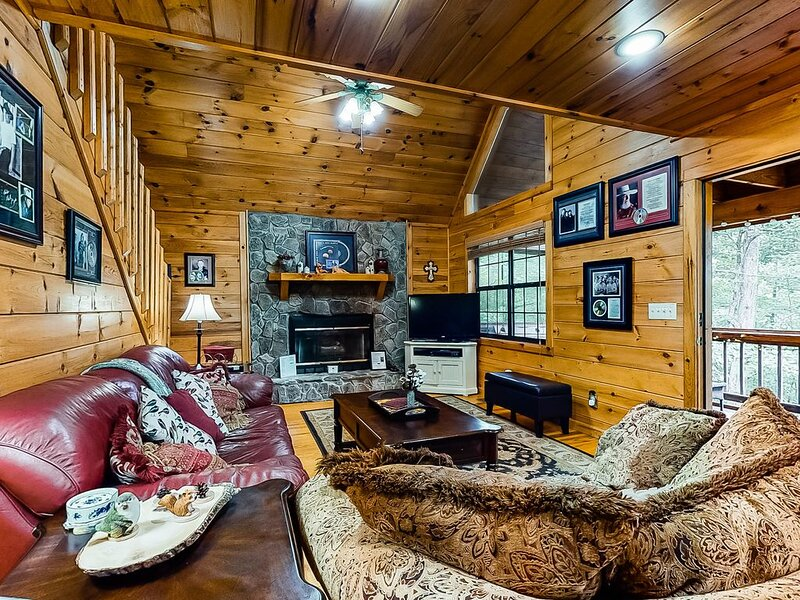 Wooded dog-friendly cabin w/ games, firepit, screened porch, & private hot tub, casa vacanza a Mineral Bluff