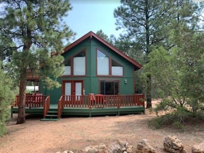 Peaceful family cabin in the woods with miles of trails and stocked lakes nearby, holiday rental in Forest Lakes