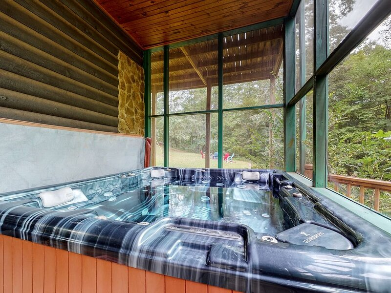 Fantastic waterfront cabin w/ private hot tub, screened porch, & free WiFi, vacation rental in McCaysville