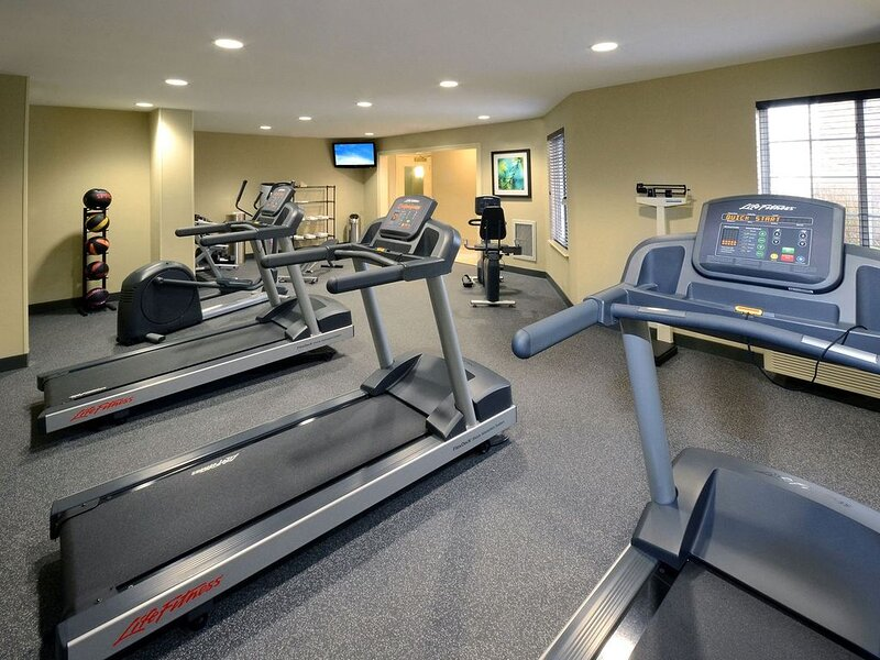 Keep up your fitness routine at the on-site fitness center.