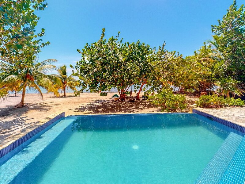 Oceanfront home w/ private pool, beach & rooftop deck - enjoy partial AC & WiFi!, Ferienwohnung in Placencia