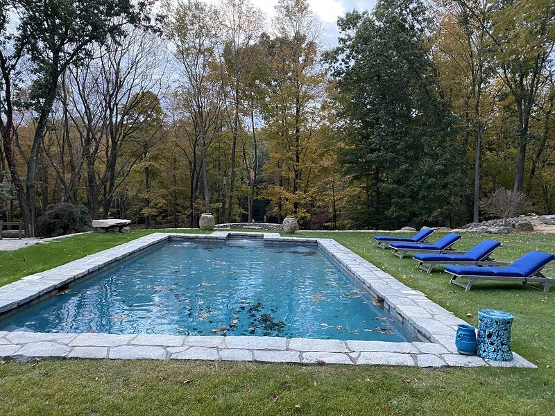 Stately 1792 retreat on 23 acres, chic modern renovation with gunite pool, holiday rental in Bethlehem