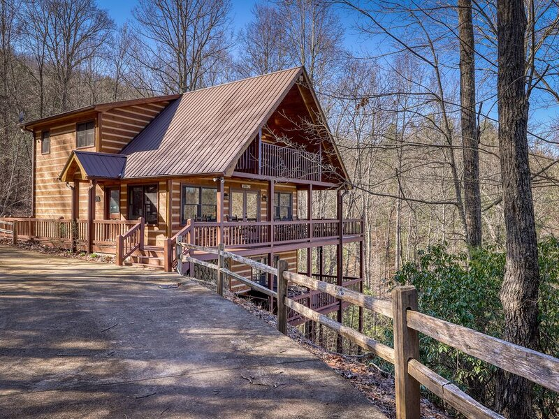 Spacious Dogwood cabin w/ mountain views, private hot tub, free WiFi & game room, vacation rental in Mineral Bluff