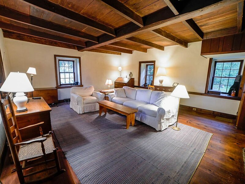Historic Stone Farmhouse w/ Modern Amenities on Bucolic 13-acre Property, alquiler vacacional en Upper Black Eddy