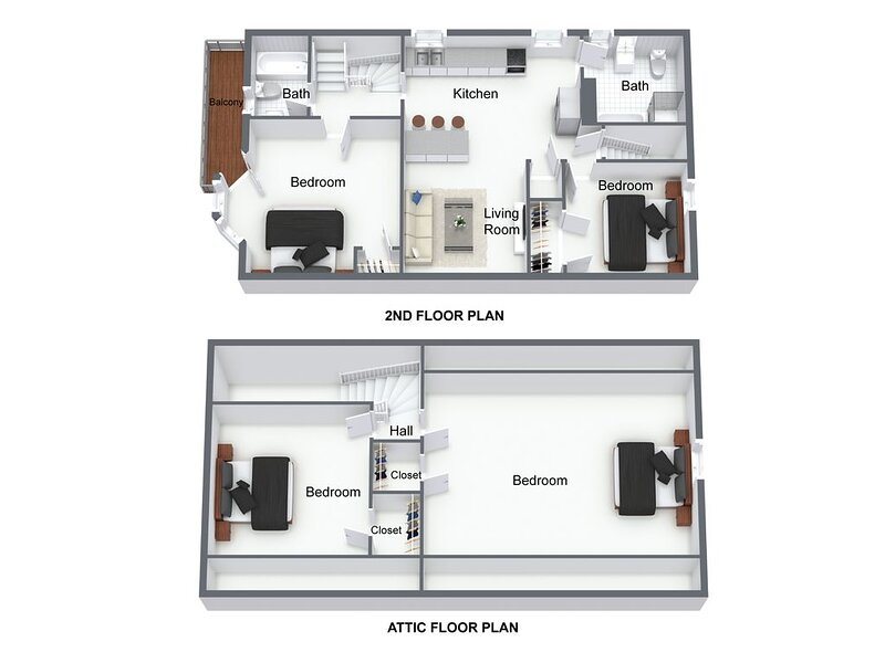 Floor Plan of 2nd Floor and Attic (sizes are not exact but are rough approximations)