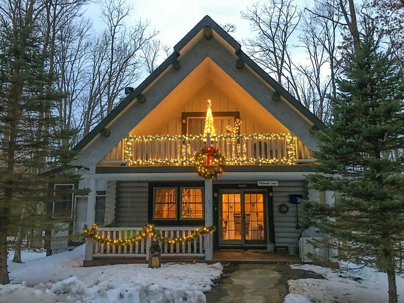 This home comes decorated for the Christmas season!
