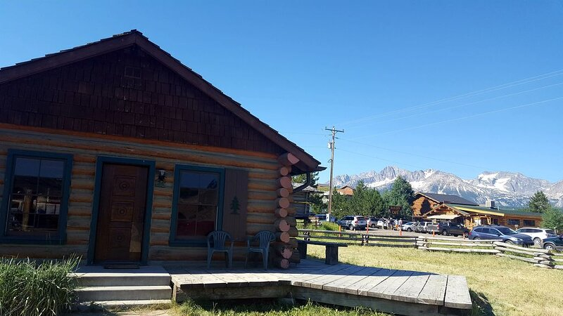 Our cozy cabin is located in downtown Stanley with a breathtaking mountain view, location de vacances à Stanley