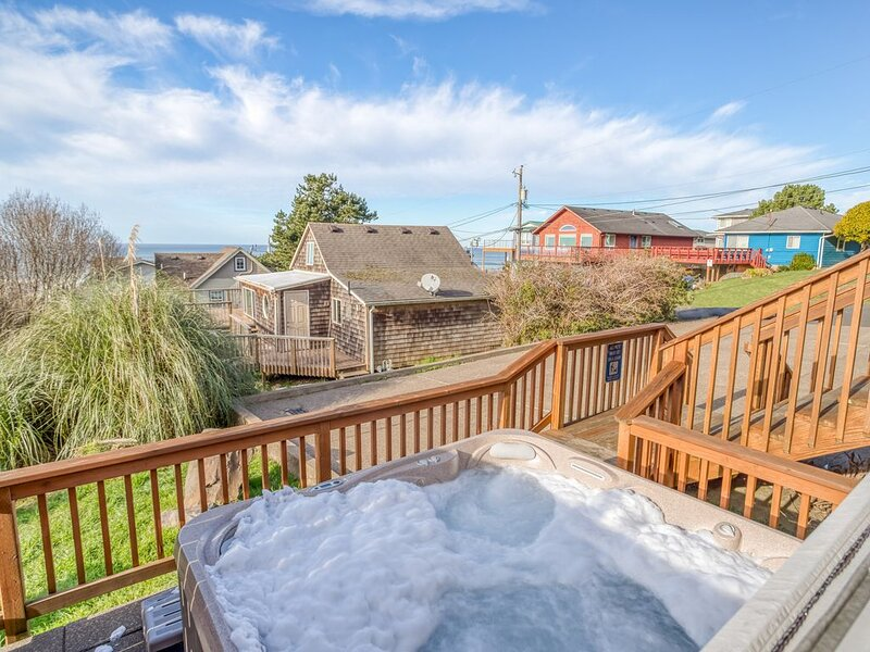 Incredible 3-story Ocean-View home with spacious game room and hot tub!, vacation rental in Otis