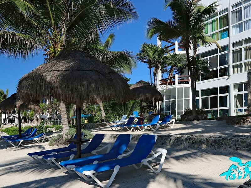 Our Beach is Twice the Size as Others With Plenty of Loungers and Palapas