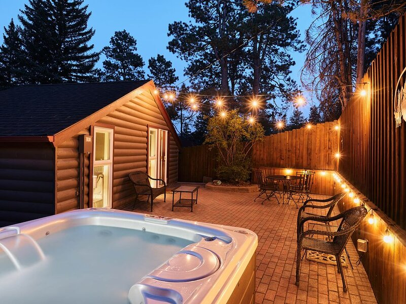 The back patio is the perfect place to unwind after your adventures