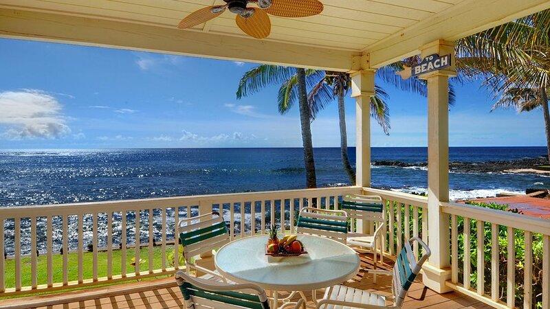 Hale Mahana Kai at Kukuiula - Oceanfront Dining Lanai View - Parrish Kauai