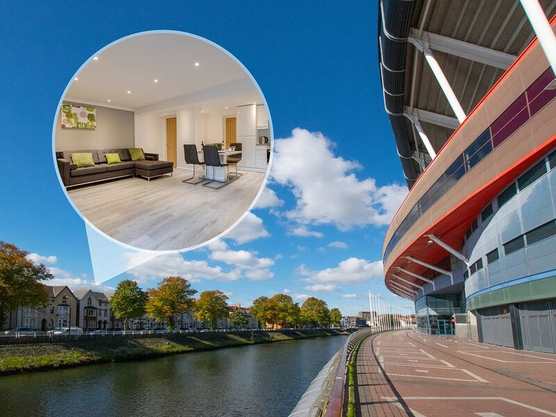 Perfect for a city break in Cardiff, this apartment is modern, stylish and fully, holiday rental in Cardiff