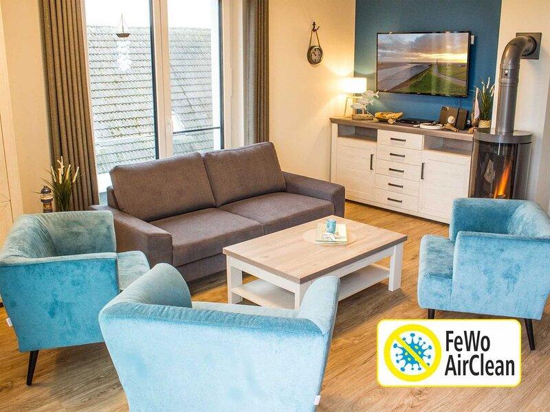 Schöne Penthouse Ferienwohnung, 3 Schlafzimmer, 2 Bäder, Sauna, WLAN – semesterbostad i Butjadingen