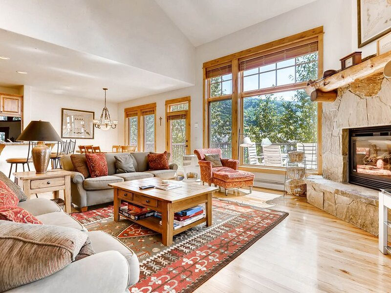 Walk-to-lift townhome w/ private hot tub, fireplace & shared pool/hot tubs/gym!, vacation rental in Steamboat Springs