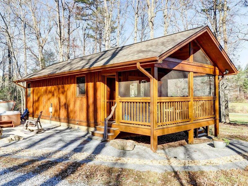 Custom-built luxury cabin w/ a private hot tub & large yard - near Blue Ridge, alquiler de vacaciones en Mineral Bluff
