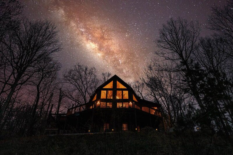 Wow! Nighttime view of all of those windows. On a moonless night, you can see the Milky Way.