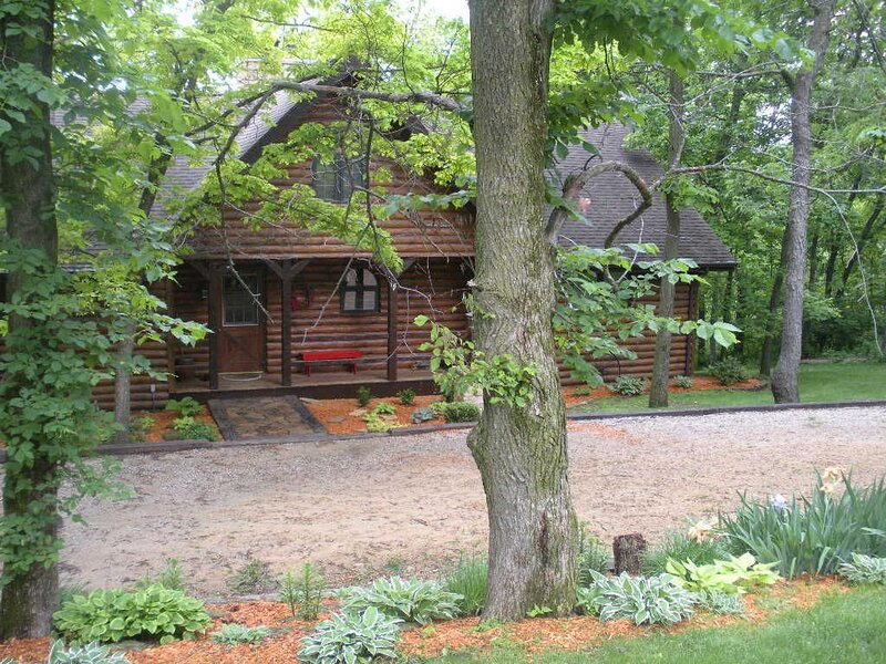 Exterior Front, The Galena Log Home, Galena IL - Vacation Rental Home