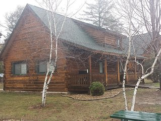 Log cabin next to Three Bears water park and Jellystone ATV/rentals  Cranfest