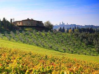 MONTEGONFOLI 4, Appartamento per 4 adulti vista San Gimignano e colline toscane