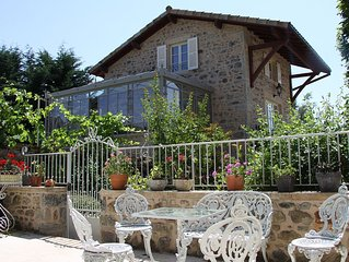 Charming 18th Century Stone Cottage with a Pool & Spa Near Beaujolais Vineyards.