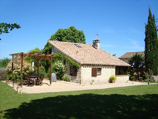 Family-friendly, dog-friendly gite with pool, play area & views near Cahors