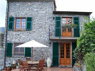 Traditional stone villa with terrace & gardens, in the hills of Lunigiana,  Nort