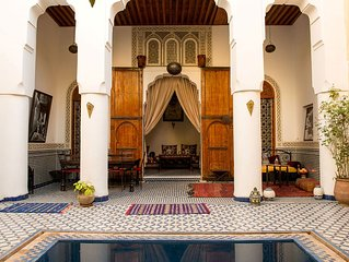 Riad Medina - garden, private plunge pool and terrace views over the Medina
