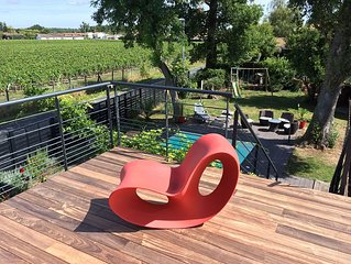 Design villa in the vineyards of Chateau Pape Cle