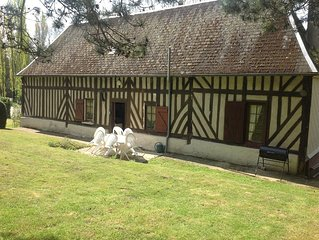 Pretty half- colombage cottage traditional of the Normandy area near Honfleur