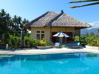 ursprungliches Ost-Bali, idyllisch, Pool, Meeresnahe, inmitten von Reisfeldern
